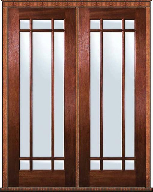 Prehung Patio Double Door 96 Wood Mahogany 9 Lite Marginal