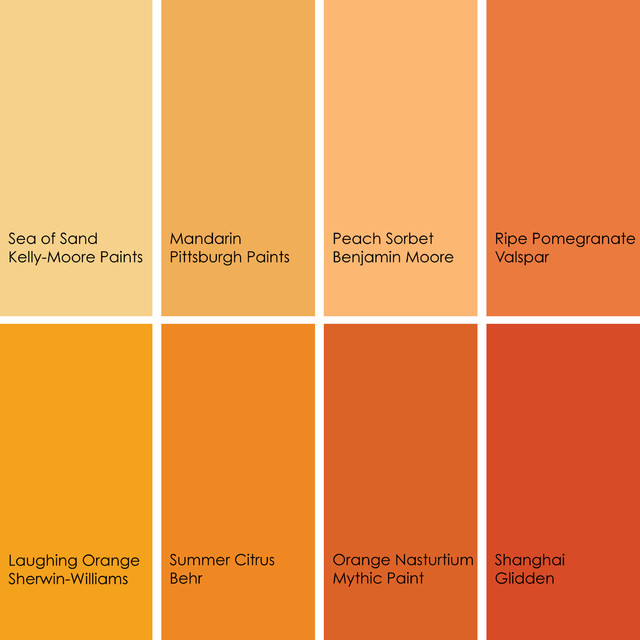 Different Shades Of Orange Paint color feast: when to use orange in the dining room