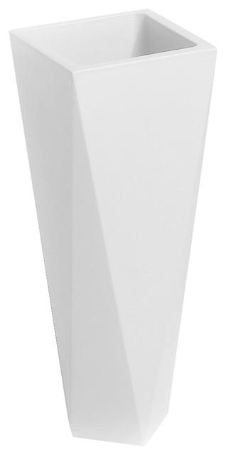 Diamond Small Contemporary Planter, White