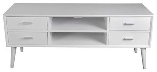 Privilege Mid-Century TV Unit, Pure White, 28292
