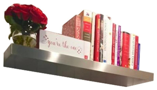 """24""""x10""""x2.0"""" Brushed Stainless Steel Floating Shelf"""