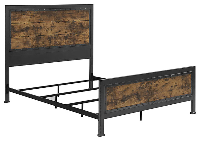 Queen Size Industrial Wood and Metal Bed, Brown