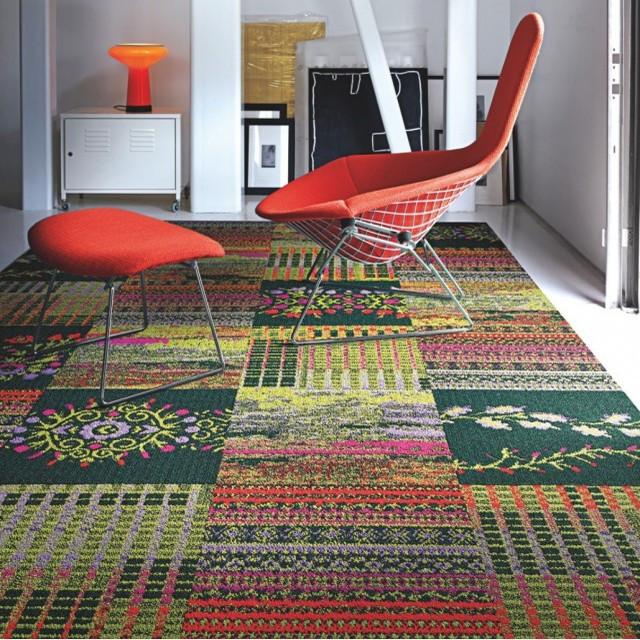 Cut Flowers Carpet Tile in Geranium
