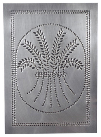 Four Handcrafted Punched Tin Cabinet Panel Primitive Wheat Design, Country  Tin