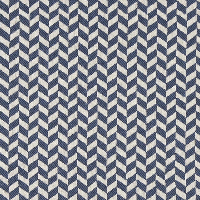 Blue and Off White Herringbone Check Upholstery Fabric By The Yard ...