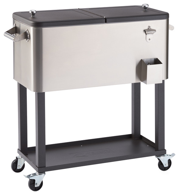 Trinity Stainless Steel Cooler With Shelf, 80 Quart.