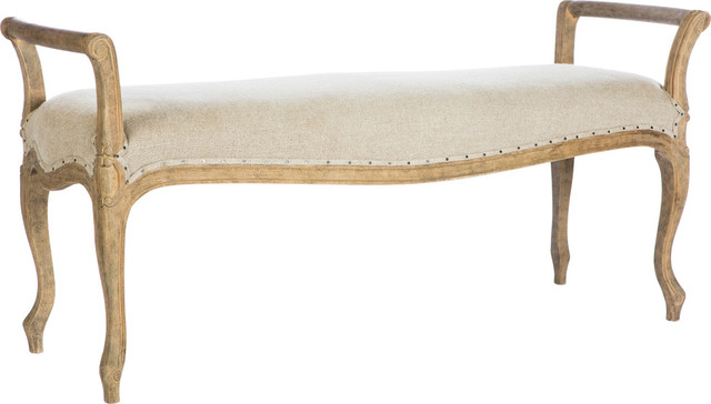 Laurie bench long barnwood upholstered benches by hedgeapple Long upholstered bench