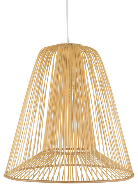 Bamboo Double Cone Pendant Lamp Natural Large