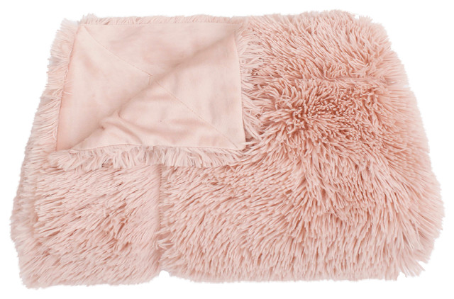 Chubby Faux Fur Decorative Throw With Micromink Back, Rose Smoke.