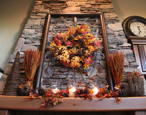 Decorated Mantel for Fall