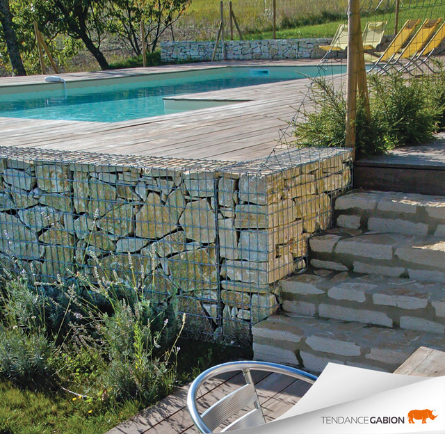 D limitation de piscine en gabions contemporain for Decoration jardin gabion