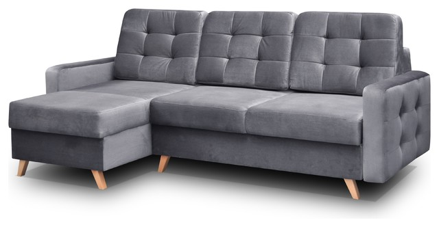 Vegas Futon Sectional Sofa Bed, Queen Sleeper With Storage, Gray