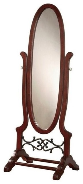 Dark cherry floor mirror