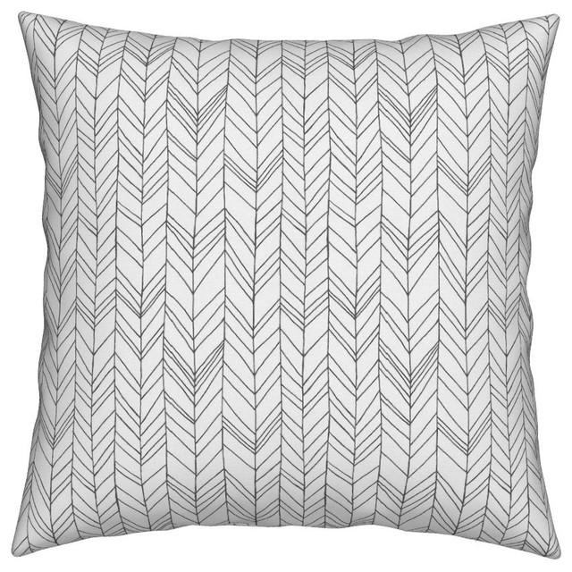 Featherland White Gray White Chevron Throw Pillow Contemporary