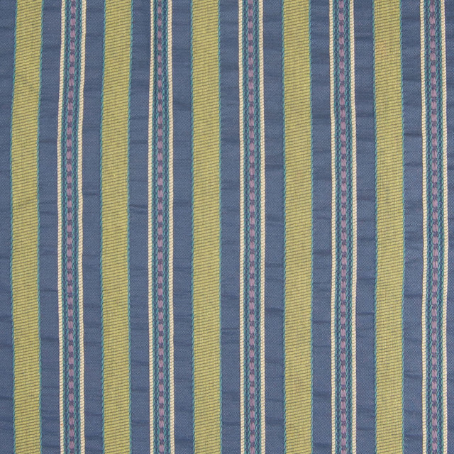 Multi Green Blue Stripe Woven Upholstery Fabric By The Yard