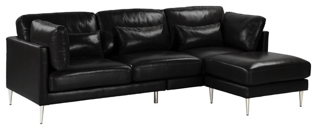Contemporary Retro Sectional Sofa in Leather/PVC, Chrome Legs, Black