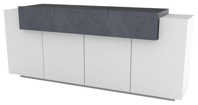 Asia Modern 4-Door Sideboard, White and Slate