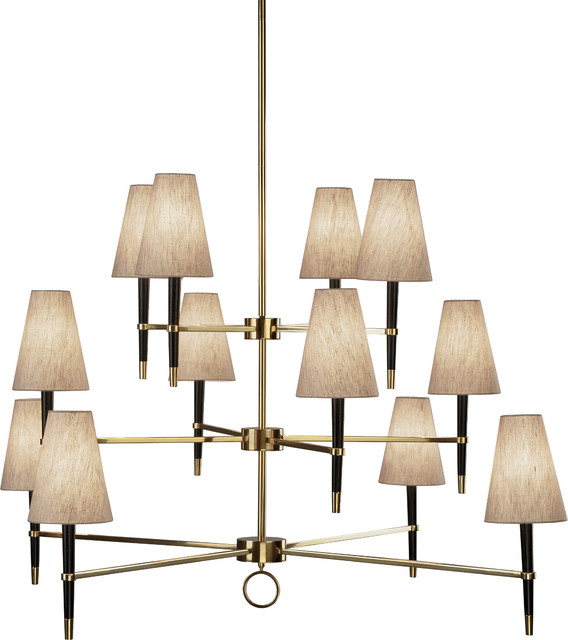 Robert Abbey Jonathan Adler Ventana 12 Light Chandelier Antique Br