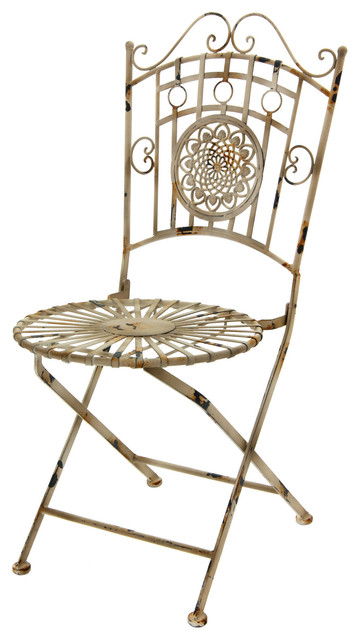 Wrought iron garden chair distressed white outdoor - Used wrought iron furniture ...