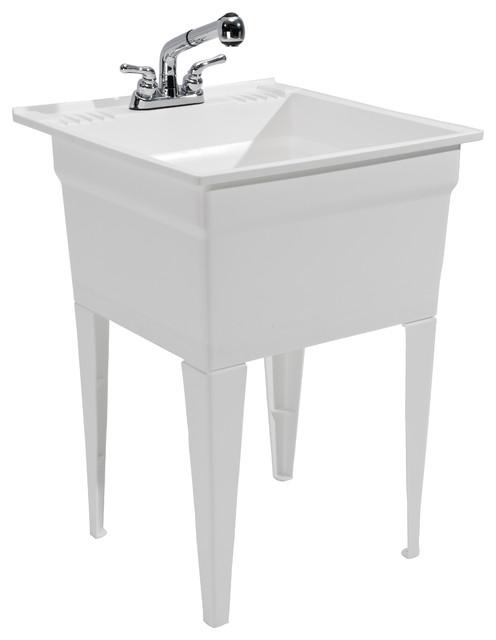Heavy Duty Sink  Fully Loaded Sink Kit, White Modern Utility Sinks