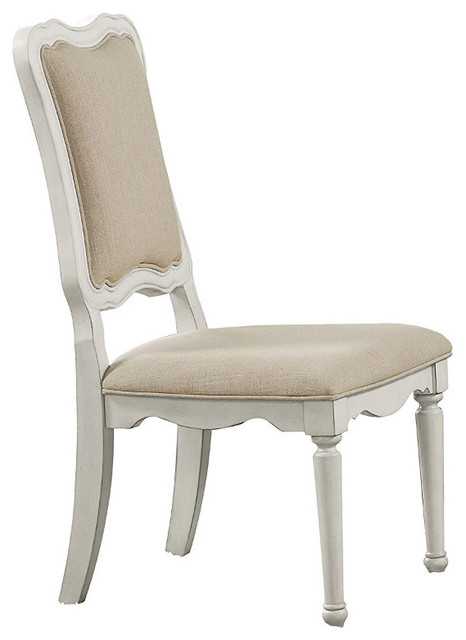 Linen Fabric Upholstery Armless Chair, Beige and Antique White