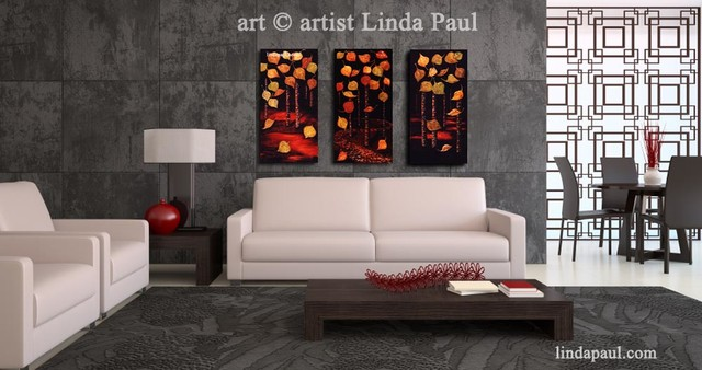 Modern Chic Black White And Red Living Room With Linda Paul Art Traditional