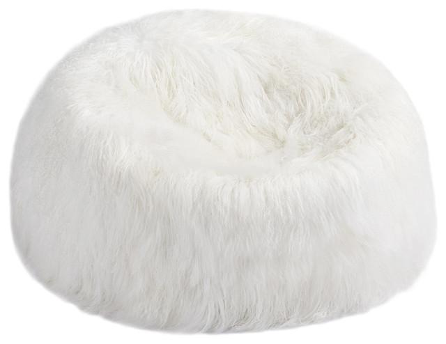 Tibetan Lambskin Bean Bag White