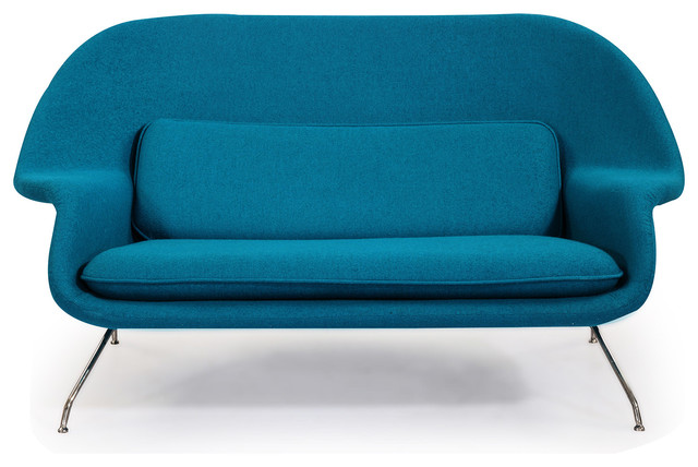 cashmere wool womb midcentury modern loveseat sofa
