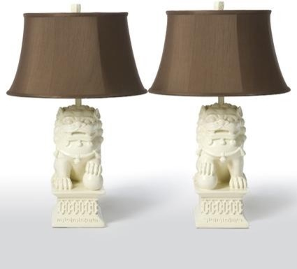 How do we purchase the white foo dog lamps with brown silk shades mozeypictures Image collections