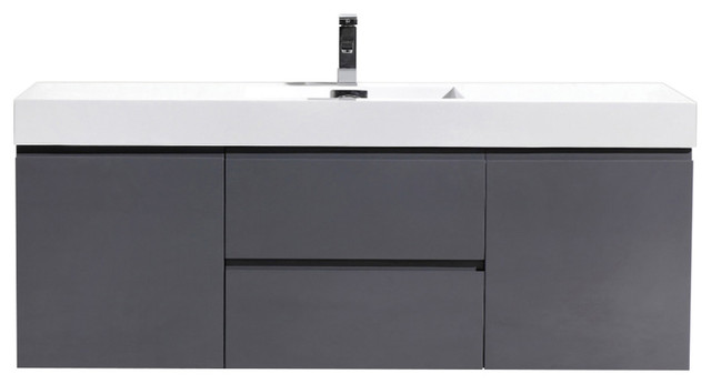 "mof 60"" single sink wall mounted modern bathroom vanity - modern"