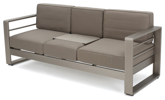 Crested Bay Outdoor Aluminum 3 Seat Khaki Sofa With Tray