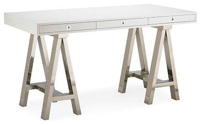 SOLD OUT! Williams-Sonoma Home Mason White Wood Glass Desk ... cf354bb220fe