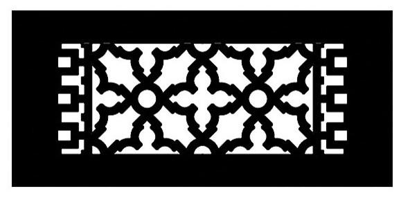 "Aluminum Scroll Pattern Grille, Black, 4""x10""."