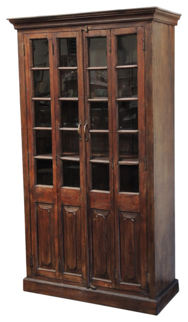 consigned vintage tall teak cabinet with glass doors cabinetsand