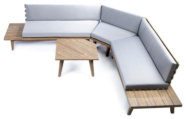 GDF Studio 4-Piece Hillside Outdoor V Shaped Sectional Sofa Set, Gray/Gray