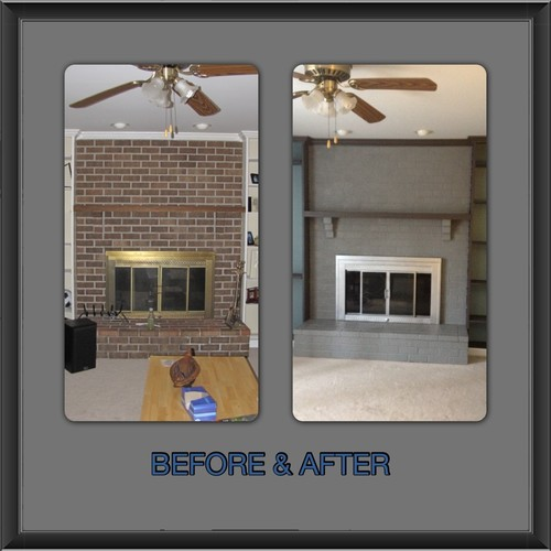 I wanted to share my before and after after viewin tons of photos and websites on painting brick fireplaces and screens. There was only 2 sites I found where people used silver high heat paint for the screens