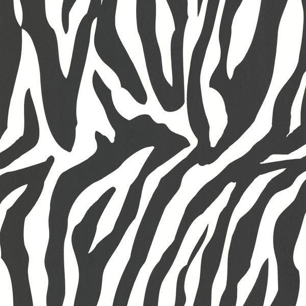 Zebbie white zebra print wallpaper swatch