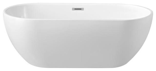 "59"" Streamline N-140-60fswh-Fm Soaking Freestanding Tub With Internal Drain."