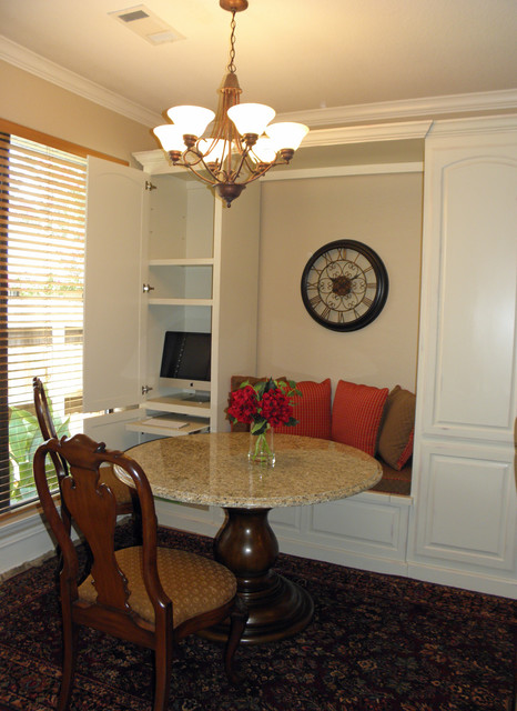 Custom banquette for seating, home office and pantry storage ...