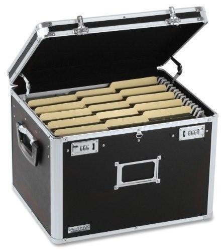 "Locking File Chest Storage Box, Letter/legal, 17.5""x14""x12.5"", Black."