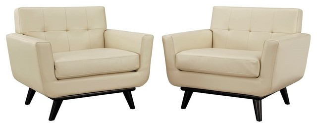 Modway Furniture Engage Leather Armchairs, Beige, Set Of 2.