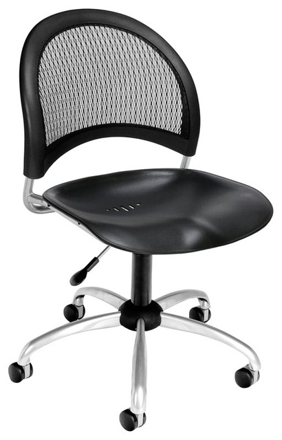 ofm moon swivel plastic chair in black office chairs by homesquare