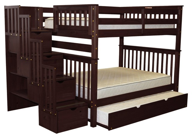 Bedz King Bunk Beds Full over Full Stairway, 4 Drawers & Twin Trundle Cappuccino