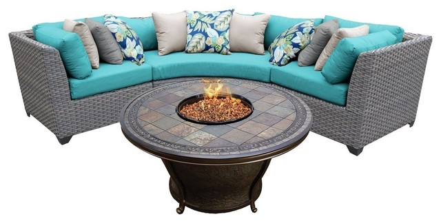 Florence 4 Piece Outdoor Sectional Sofa With Fire Pit Table