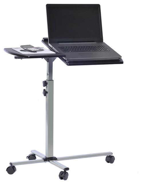 Techni Mobili Rolling Adjustable Laptop Cart, Graphite.
