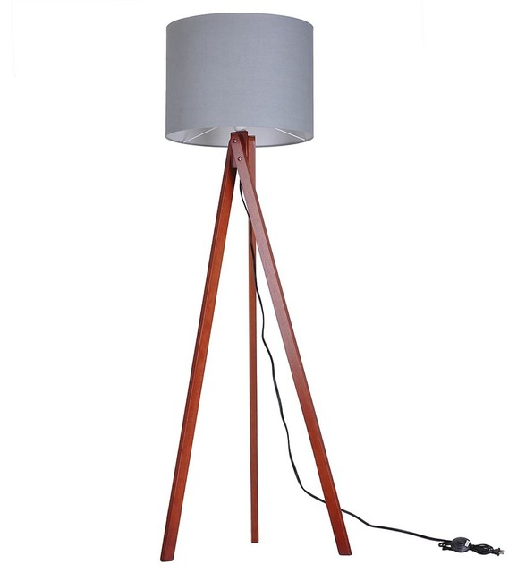Tripod floor lamp cotton lampshade with wood color oak for Oak floor lamp stand