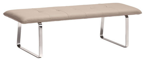 Bench, Taupe Leatherette Stainless Steel.