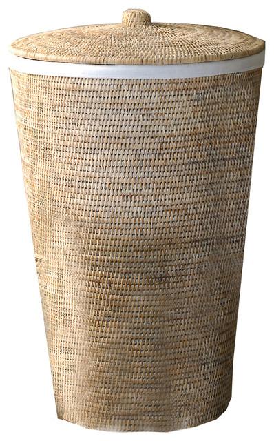 Dwba bath collection dwba malacca single hamper laundry basket with lid 15 x25 rattan - Modern hamper with lid ...