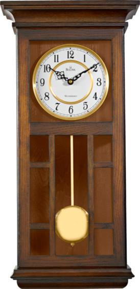Bulova Mayfair Pendulum Chiming Wall Clock, Antique Walnut Tone, Gold Accents
