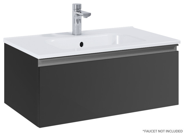 Royo Vida 24 Wall Hung Small Bathroom Vanity Cabinet With Sink